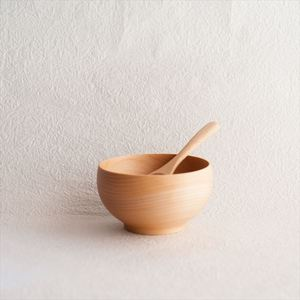[Set] Meibokuwan & China spoon / Wooden soup bowl / Medium / Sonobe