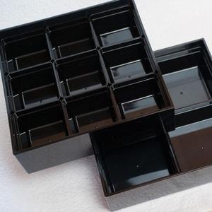 【セット】6.5寸三段重 漆黒(仕切り&梅水引バンド付き)_Image_3