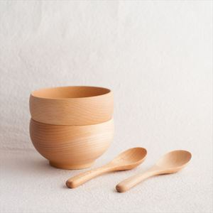 【A Set of 2 bowls and 2 china spoons】Meibokuwan/Beech wood/Medium bowls with China spoons/ Sonobe