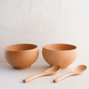 【A Set of 2 bowls and 2 china spoons】Meibokuwan/Beech wood/Large bowls with China spoons/ Sonobe_Image_1