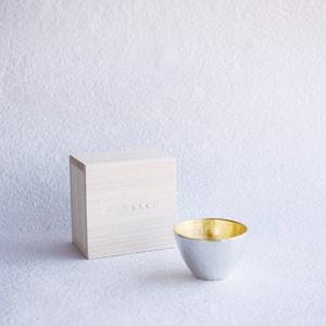 Guinomi/ Sake cup/ Gold/ Paulownia box/ Nousaku