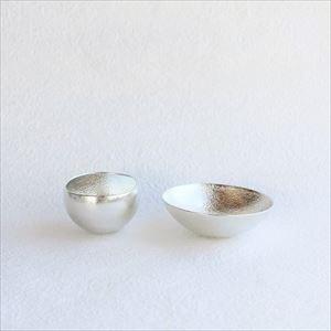 [Set] 1 Kuzushi-Yure Silver + 1 Kuzushi-Tare Silver/ Sake cup / Nousaku_Image_1