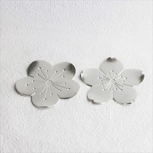 [Set] 2 Tin Flower trays / Japanese plum & Japanese cherry / Nousaku
