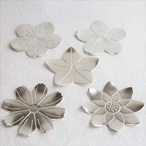 [Set of 5] 5 Tin Flower trays / Nousaku