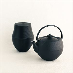 [Set] Cast iron teapot Marutama S & Tea Canister Karmi KAMA Black×1