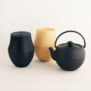 [Tea set] Teapot Marutama S + Tea Canister Karmi, KAMA, Sumi(Black)& Soji(Plain)/ Gato Mikio Store and Chushin Kobo