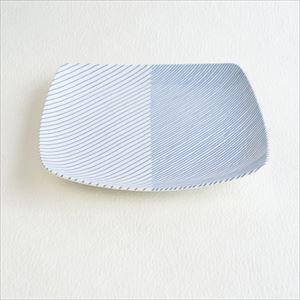 重ね縞 反角盛皿 L/白山陶器
