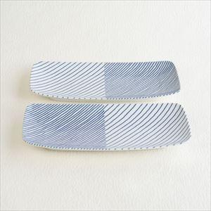 重ね縞 長焼皿ロング2枚セット/白山陶器_Image_1