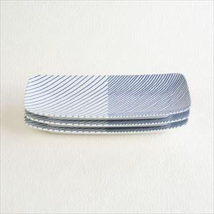 重ね縞 長焼皿ロング3枚セット/白山陶器