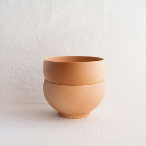 [Set] [Exclusive box] Pair Meibokuwan / Wooden soup bowl / Large / Sonobe