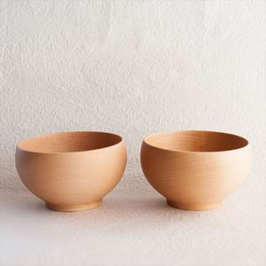 [A set of 2 bowls]Meibokuwan / Beech wood / Large bowls (Exclusive box) / Sonobe_Image_1