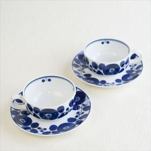 [Set] 2 Pairs of Teacup & Saucer / Bloom series / Wreath / Hakusan Toki