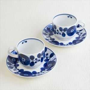 [Set] 2 Pairs of Coffee cup & Saucer / Bloom series / Wreath / Hakusan Toki