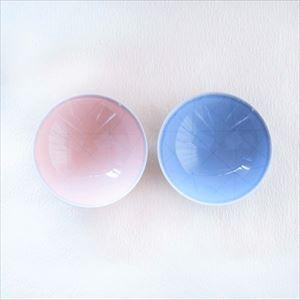 [Set][Exclusive box] Pair flat rice bowls / Light Pink & Light Blue / Hakusan Toki_Image_1