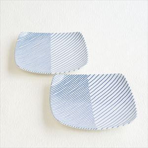 【セット】重ね縞 反角多用皿M 2枚 化粧箱入/白山陶器_Image_1