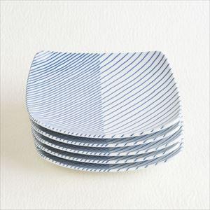 【セット】重ね縞 反角多用皿M 5枚 化粧箱入/白山陶器