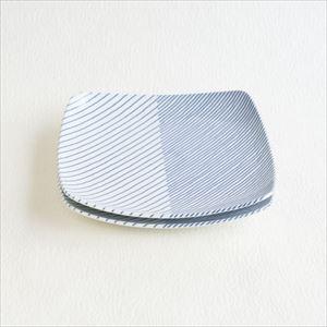 【セット】重ね縞 反角中皿S 2枚/白山陶器