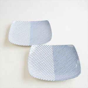 【セット】重ね縞 反角中皿S 2枚/白山陶器_Image_1