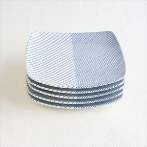 【セット】重ね縞 反角中皿S 5枚 化粧箱入/白山陶器
