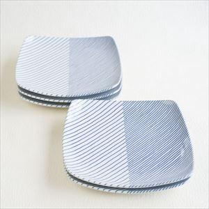 【セット】重ね縞 反角中皿S 5枚 化粧箱入/白山陶器_Image_1