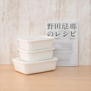 【公式レシピ本セット】レクタングル深型  M2点 L1点/野田琺瑯