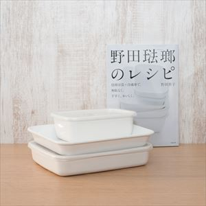 [Standard set of 3 with Official recipe book] Rectangle Deep M×1 / Rectangle Shallow M×1 / Enamel baking pan 21 tori×1 / Noda Horo