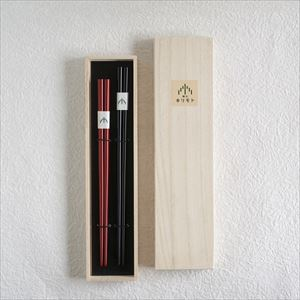 [Set] [Paulownia box] Pair of oval lacquered chopsticks / Uwanuri / Black & Red / Wajima Kirimoto_Image_1
