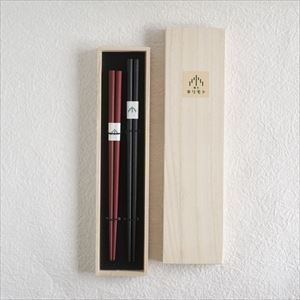 [Set] Pair of oval lacquered chopsticks / Makiji / Black & Red / Paulownia box / Wajima Kirimoto_Image_1
