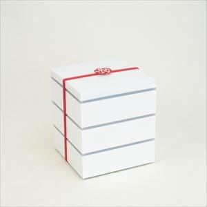 【セット】行楽用三段重 ホワイト小5寸(内蓋&仕切り&梅水引バンド付き)
