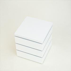 【セット】行楽用三段重 ホワイト小5寸(内蓋&仕切り&梅水引バンド付き)_Image_1