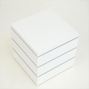 【セット】行楽用三段重 ホワイト大 6寸(内蓋&仕切り&梅水引バンド付き)_Image_1