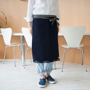 Maekake / Japanese waist apron / Navy / Long / Anything