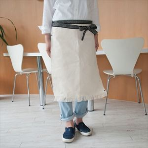 Maekake / Japanese waist apron / Cream / Long / Anything