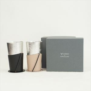 [Set] Pair Beer cup White birch pattern / Beige & Black / Nousaku