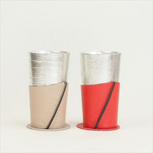 [Set] Pair Beer cup White birch pattern / Beige & Red / Nousaku_Image_1