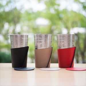 [Set] Pair Beer cup White birch pattern / Beige & Red / Nousaku_Image_2