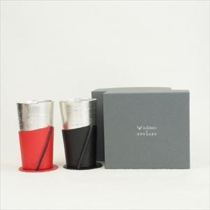 [Set] Pair Beer cup White birch pattern / Black & Red / Nousaku