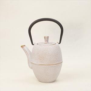 南部鉄器カラーティーポット 急須ホワイト&ゴールド(筒形刷毛目)/Roji