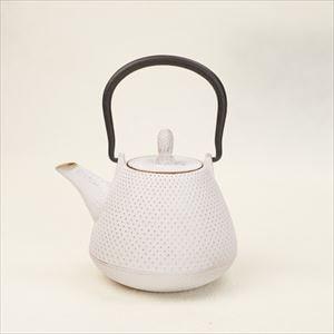 Nambu tekki Color tetsubin teapot / Dome-Arare / White & Gold / Roji