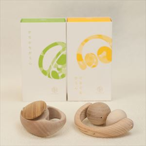 "[Set] 2 wooden rattles of ""Anomatopee"" series / Kachi Kachi Karan & Guru Guru Karan / Oak Village"