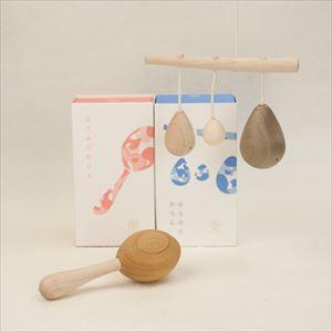 "[Set] 2 wooden rattles of ""Anomatopee"" series / Furi Furi Karan & Yura Yura Karan / Oak Village"