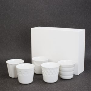 [Set of 5] [Exclusive box] HONOKA / Translucent porcelain cups / Oda Pottery
