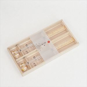 [Set] [Paulownia box] Clear gold thread / 2 pairs of Chopsticks and Chopstick rests / Hakuichi
