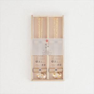 箸・箸置きセットペア クリア金糸(桐箱入り)/箔一_Image_3