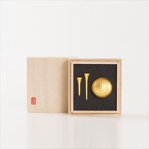 金のゴルフボール&ティーセット(シングル)桐箱入/箔一