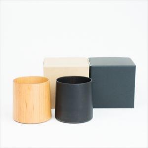 [Set] Wooden cup / SAKURA Cylinder / Plain & Black / Gato Mikio Store