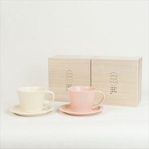 【セット】Sara Coffee Cup & Saucer ピンク&クリーム (木箱入り)/SAKUZAN