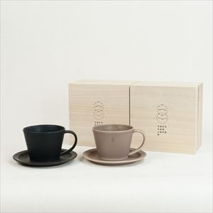 【セット】Sara Coffee Cup & Saucer ブラック&ブラウン (木箱入り)/SAKUZAN