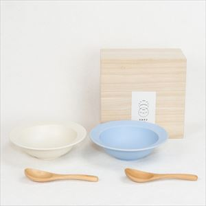 "[Set] DAYS / Sara 7"" Bowl / Pair bowl & Pair wooden spoons / Fujiiro & Cream / Wooden Box / SAKUZAN"
