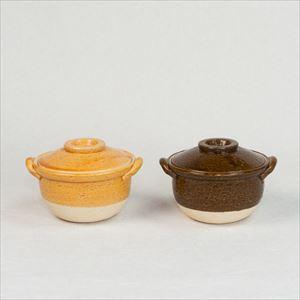 [Set of 2] Petite Donabe / Small clay pot / Ame & Orange / Nagatani-en